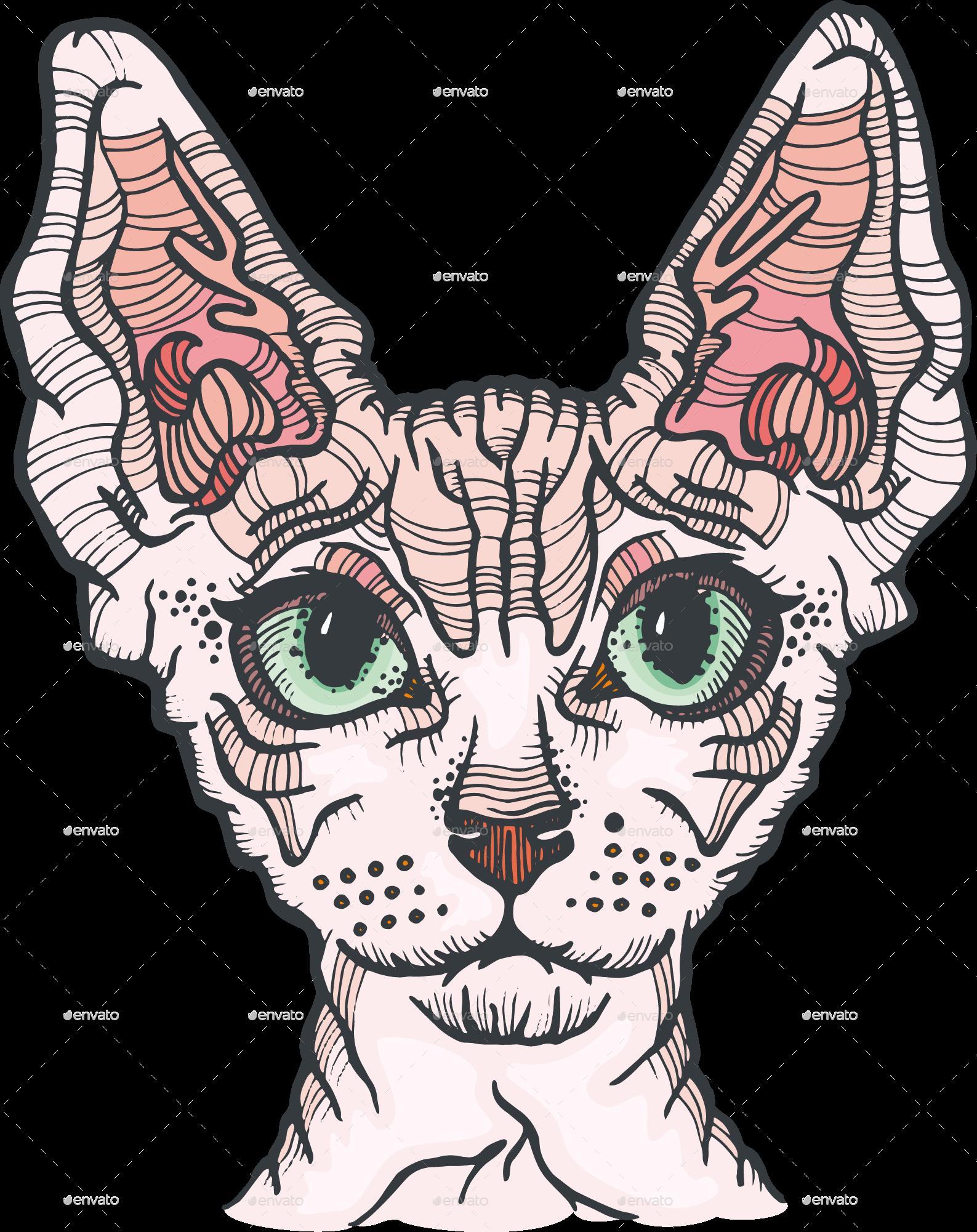 Cat vector png. Sphynx illustration by pandochka