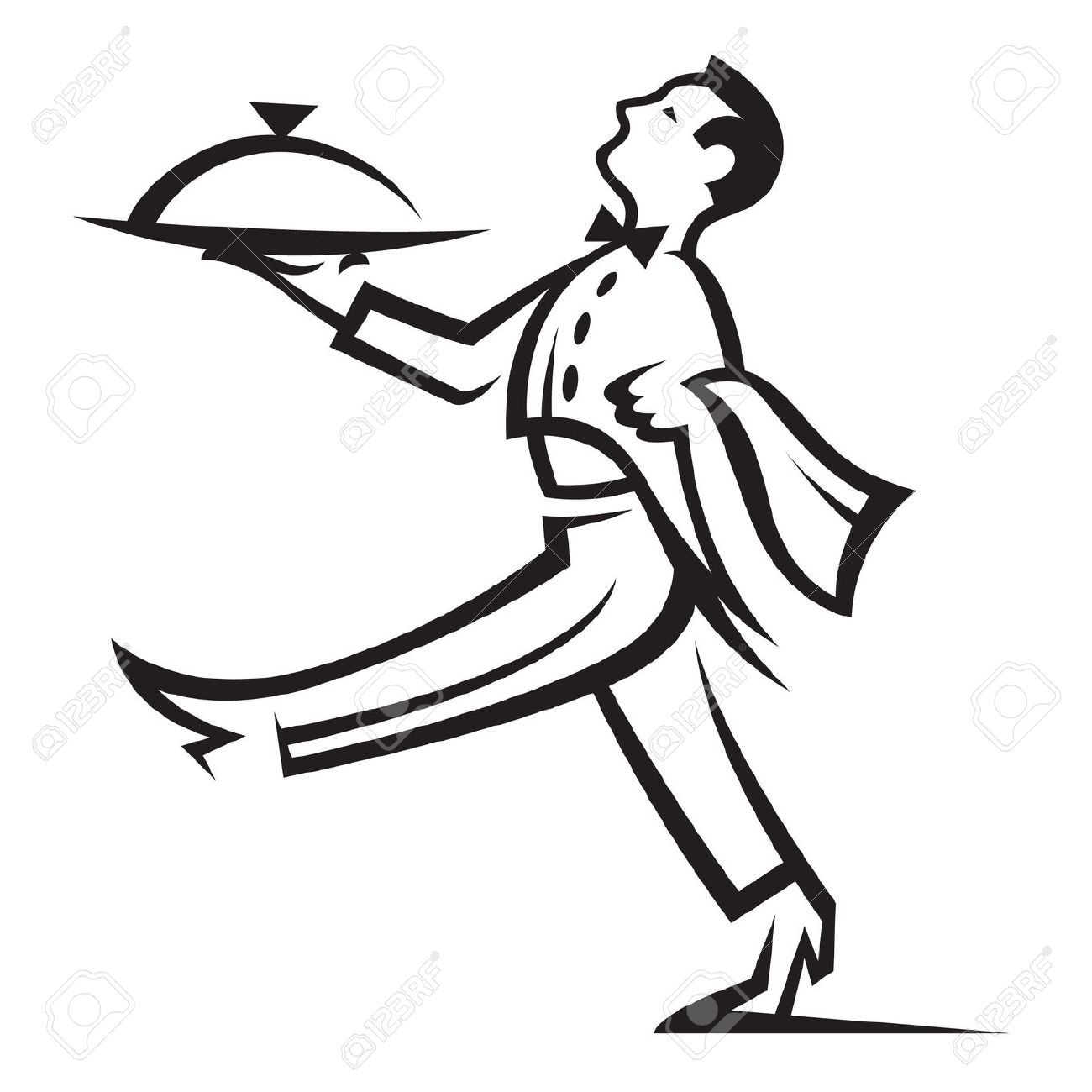 Restaurant butler tray pencil. Waitress clipart hotel indian waiter