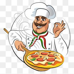 Catering clipart chief cook. Vector chef cartoon pizza