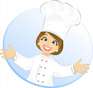 Free cartoon girl cook. Lady clipart chef