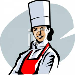 A chef royalty free. Catering clipart female