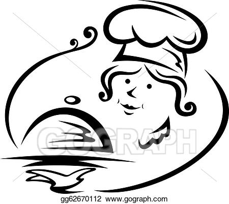 Catering clipart female. Vector art woman chef