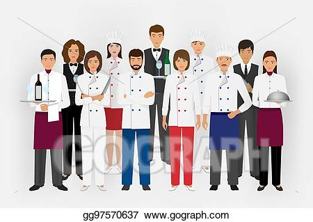 Vector art restaurant team. Catering clipart hotel cook