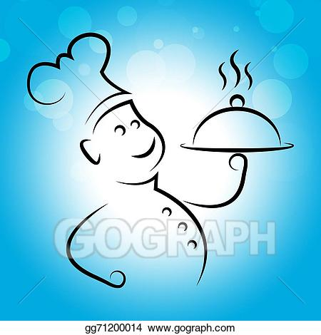 Catering clipart line. Stock illustration chef food