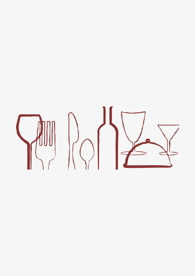 Tool knife and fork. Catering clipart line