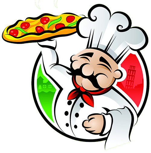 Cartoon pizza man image. Catering clipart male