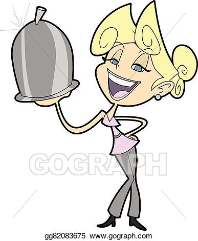 Vector stock woman cartoon. Catering clipart male