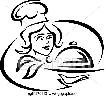 Waitress clipart food catering. Vector art young waiter