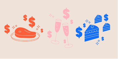 Wedding food budget hacks. Catering clipart meal planning