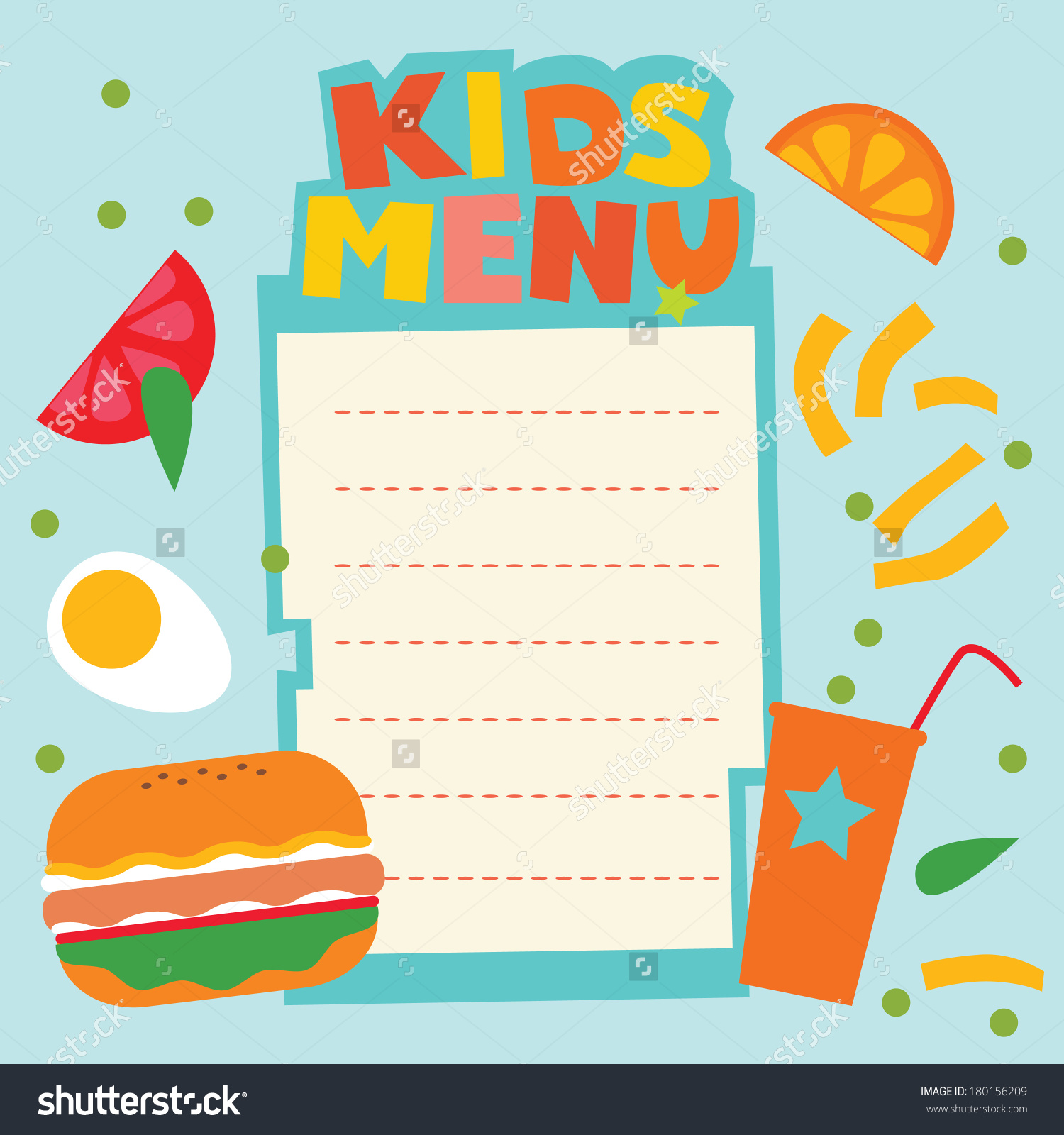 Menu design kids template. Catering clipart meal planning