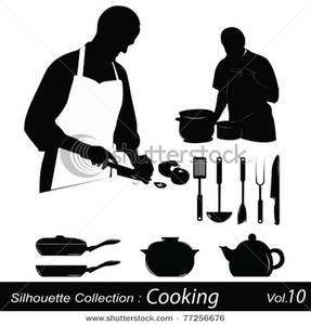 Cooking silhouettes a chef. Catering clipart silhouette
