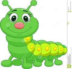 Cute green cartoon vector. Caterpillar clipart adorable