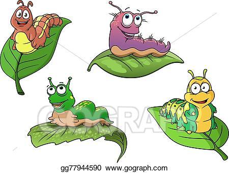 Caterpillar clipart character. Vector art cute cheerful