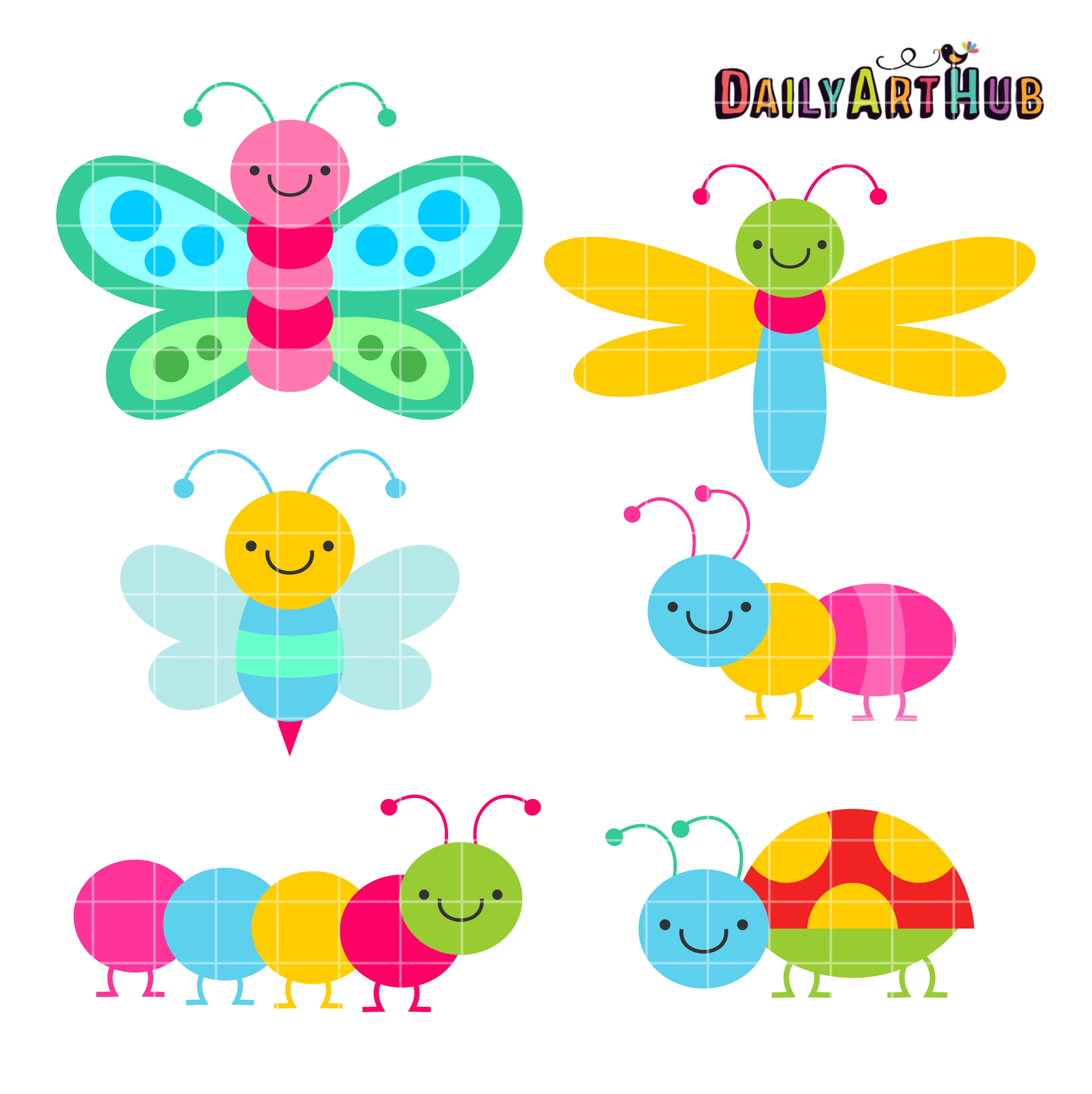 Cute bugs clip art. Insect clipart colorful bug
