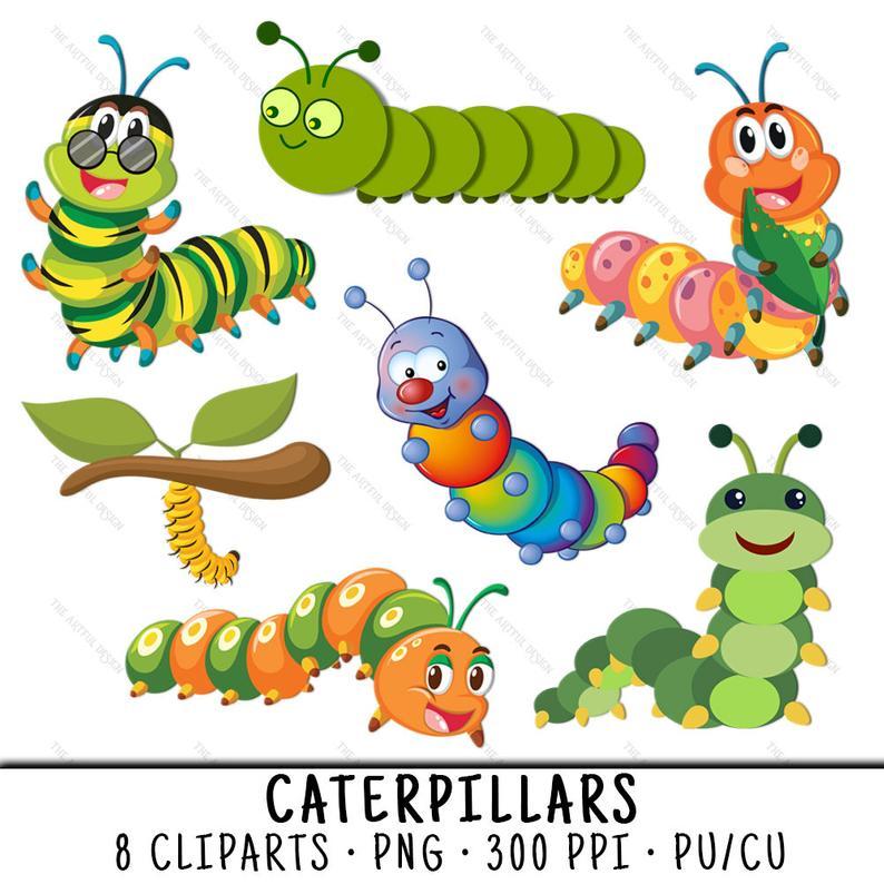 Caterpillar clipart insect. Cute bug clip art