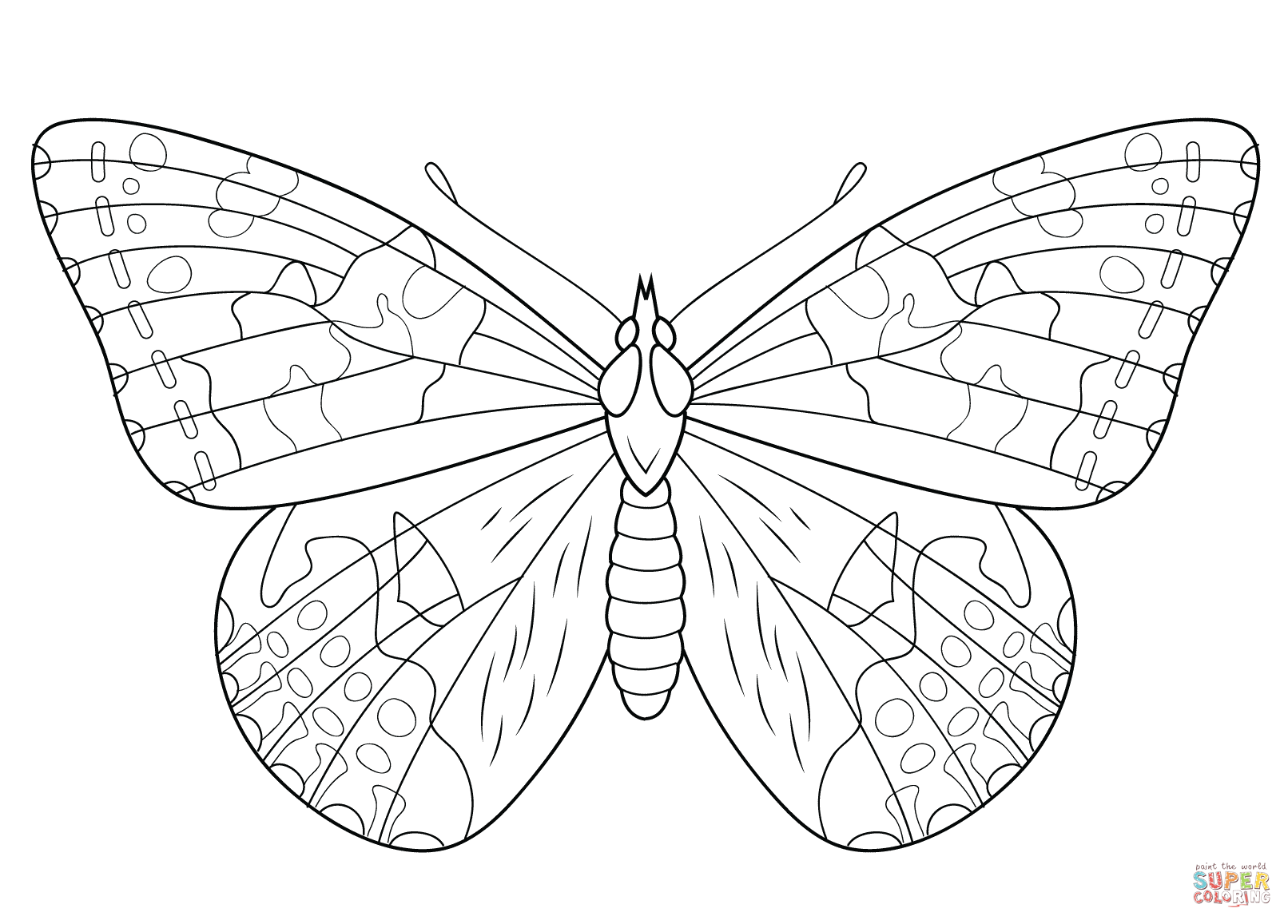 Butterfly coloring page free. Caterpillar clipart painted lady