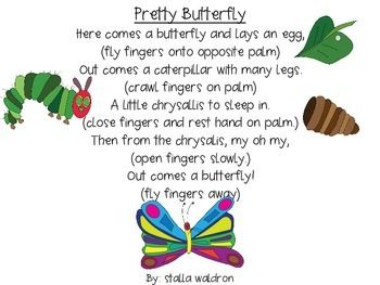 Caterpillar clipart poem. Pretty butterfly and props