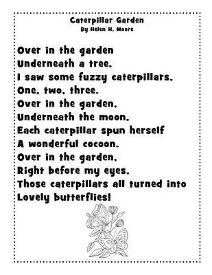 Garden we changed cocoon. Caterpillar clipart poem