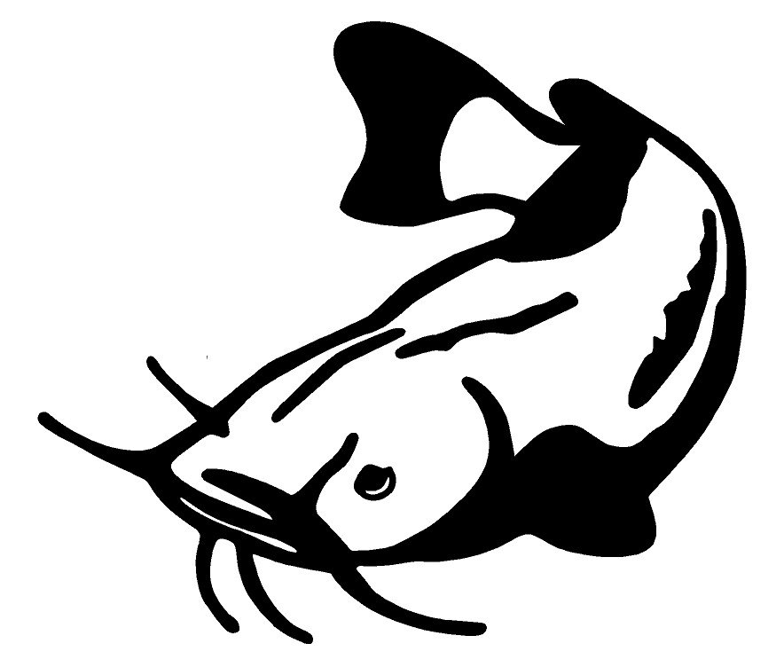 Catfish clipart black and white. Car decal