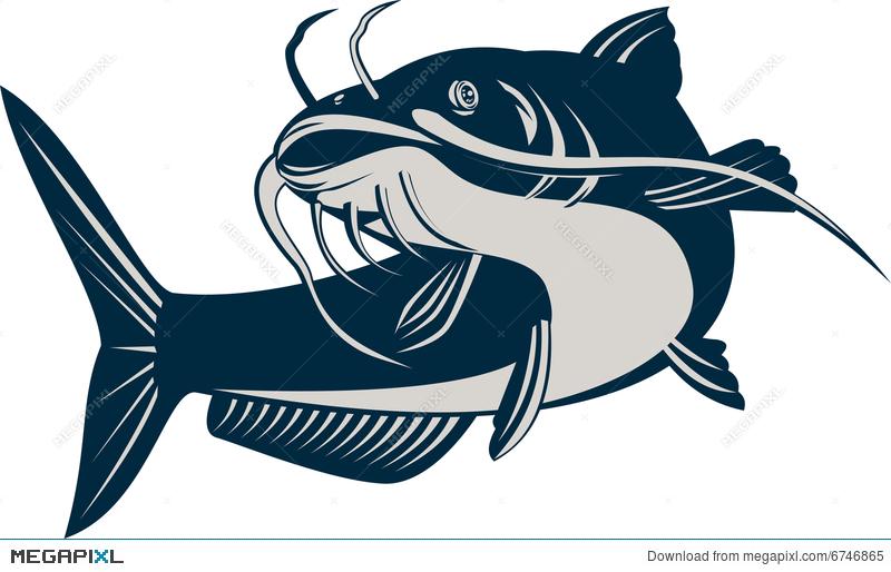 Illustration megapixl. Catfish clipart black and white