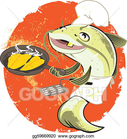 Catfish clipart fried catfish. Vector illustration fry cook