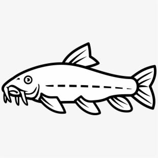 Hito black and white. Catfish clipart game fish
