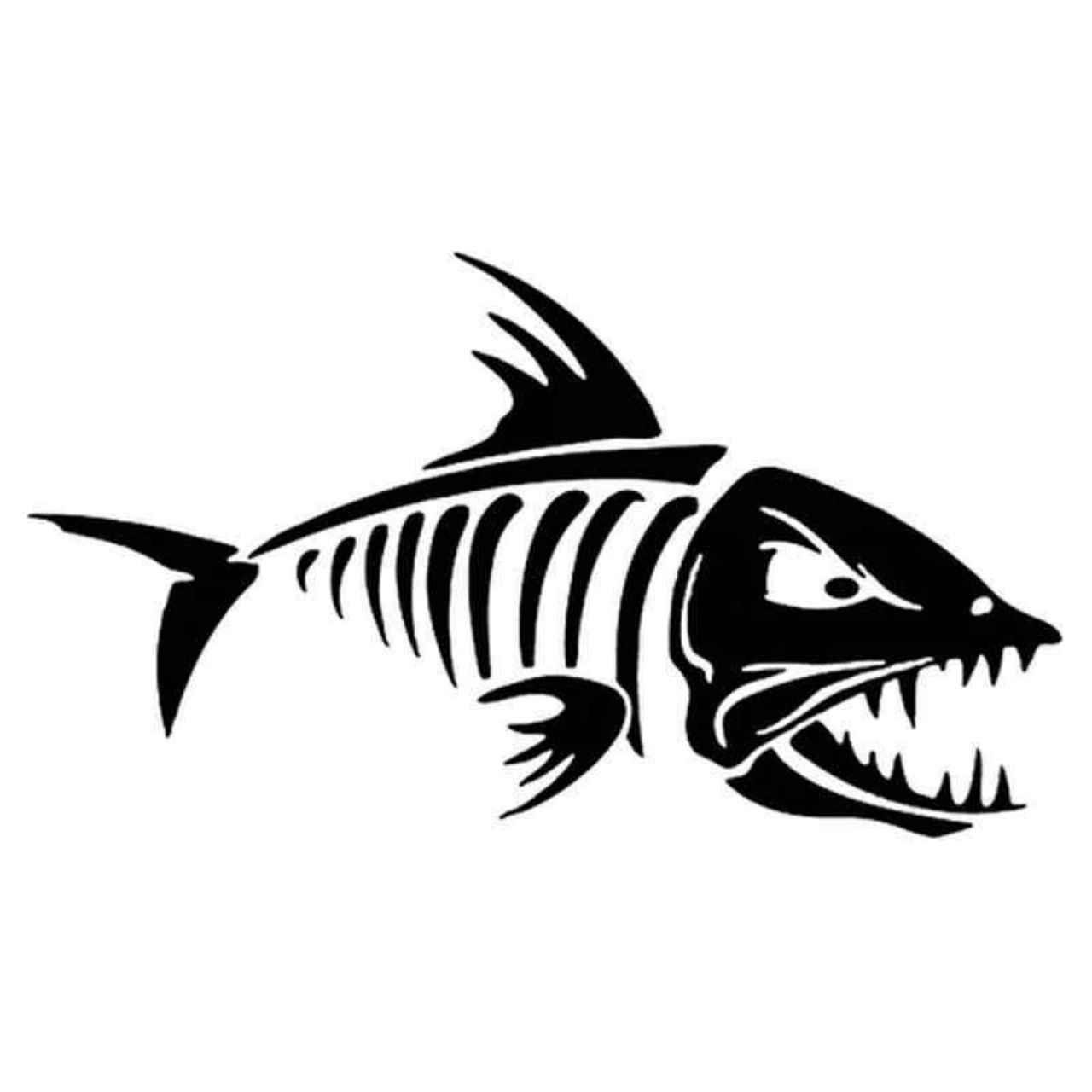 Catfish clipart skeleton. Fish decal sticker skeletons