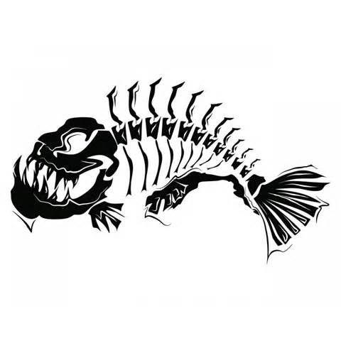 Large size tribal fish. Catfish clipart skeleton