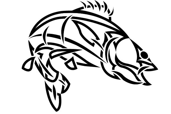 Bass clipart skeleton. Tribal fish tattoo only