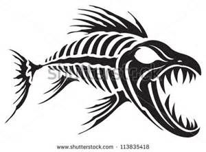 Catfish clipart tribal. Fish skeleton tattoo designs