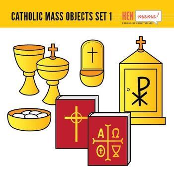 Church clipart catholic church. Mass objects set religious