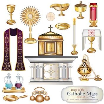 Items clip art set. Catholic clipart catholic mass