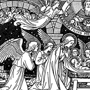 Catholic clipart christmas. Line art black and