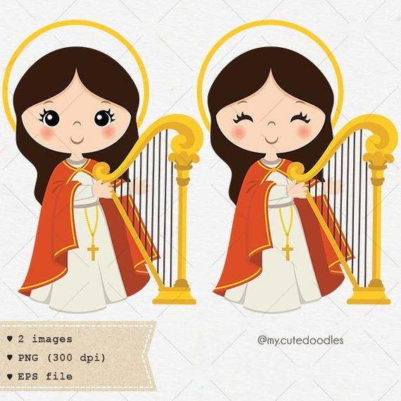 Saint cecilia patron illustration. Catholic clipart cute