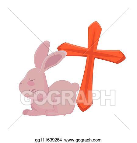 Catholic clipart cute. Vector illustration rabbit with