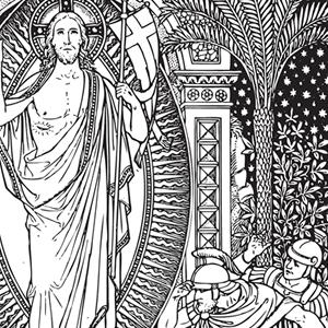 Line art black and. Catholic clipart resurrection