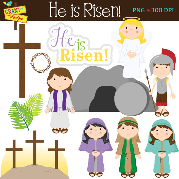 Clipart cross story. Religious easter cute digital