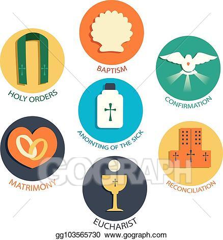 Vector seven elements illustration. Catholic clipart sacraments