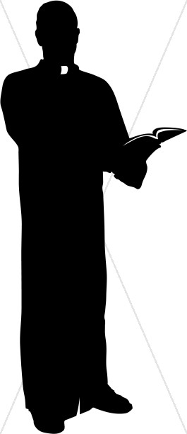 Catholic clipart silhouette. Priest with bible clergy