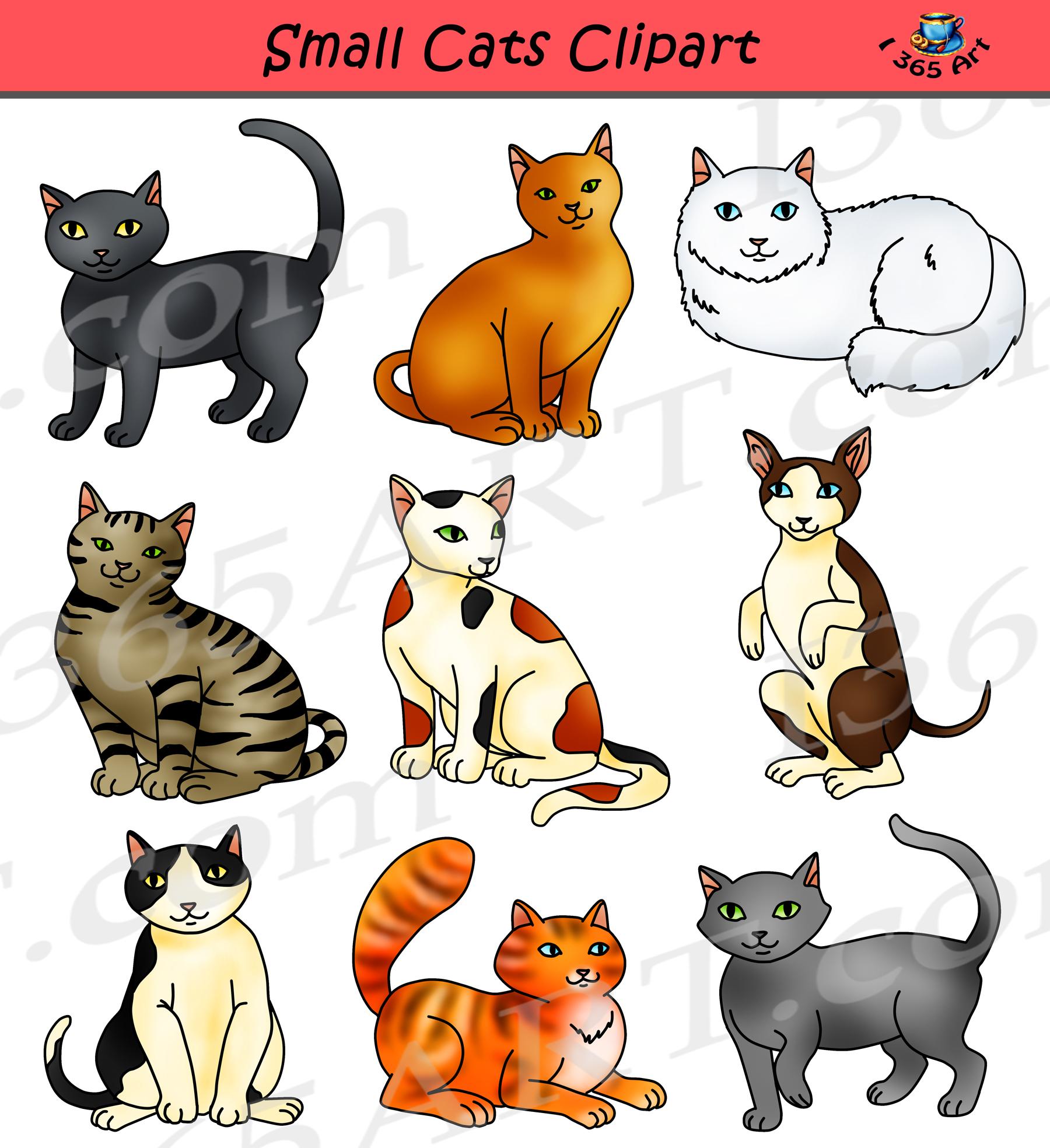 Small feline graphics . Cats clipart