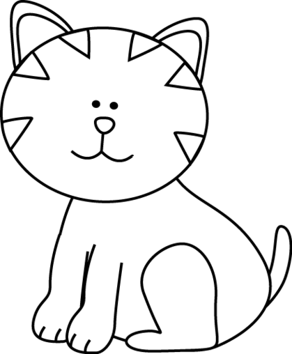 Cats clipart black and white. Drawing of a cat