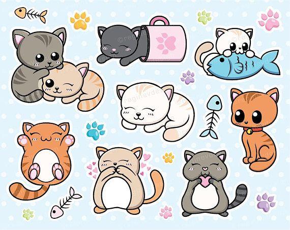 Kitten cats kitty vector. Cat clipart kawaii