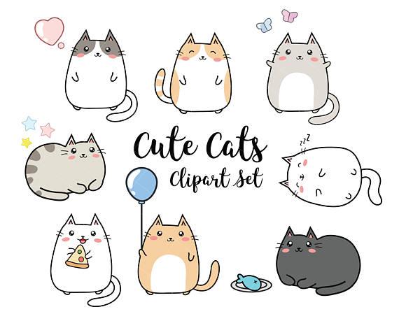 Cat clipart kawaii. Vector cats cute set