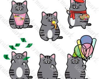 Etsy kawaii cats hand. Cat clipart art