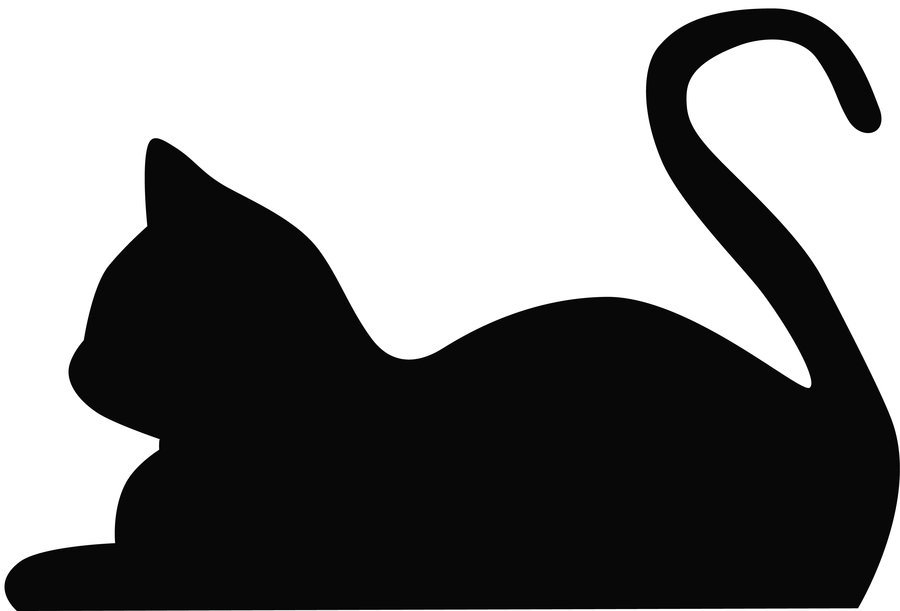 Pencil and in color. Cat clipart shape