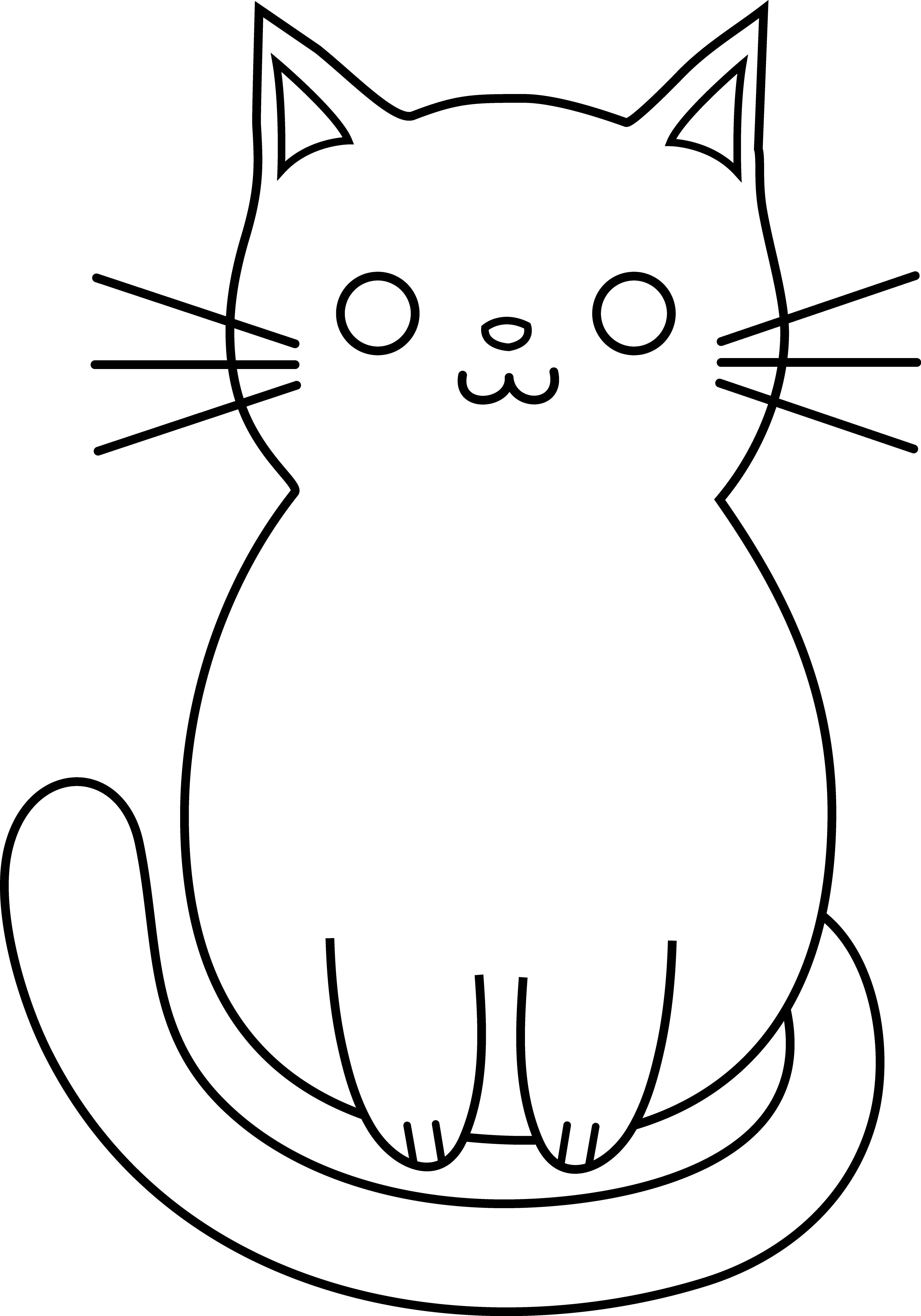 Cat drawing pic simple. Kitty clipart easy
