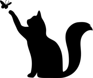 Cat clipart stencil. Butterfly silhouette pictures one