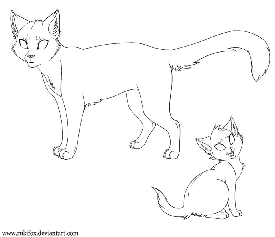 Cat clipart template. Adult and kitten paint