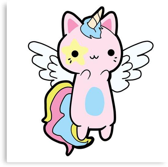 Cats clipart unicorn. Kawaii cat fly canvas