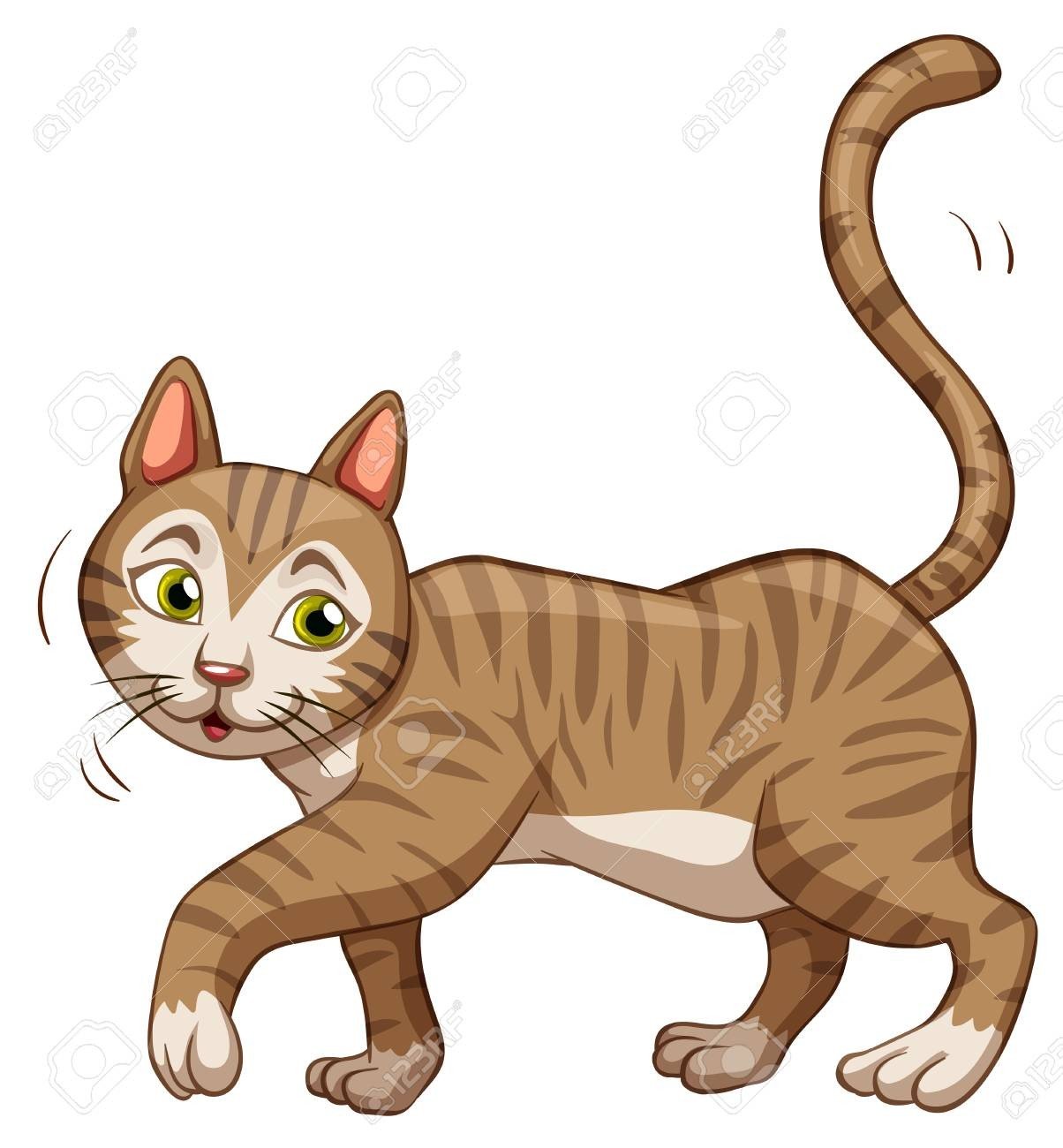 Cats clipart walking. On brown cat little